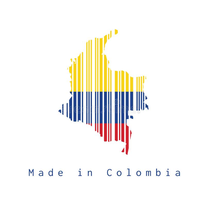 Barcode set the shape to Colombia map outline and flag color on white background, text: Made in Colombia. stock illustration