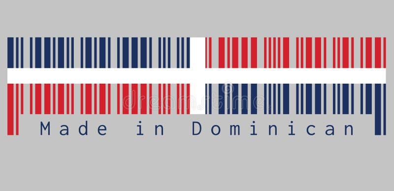 Barcode stellte die Farbe der dominikanischen Flagge, ein weißes Kreuz in vier Rechtecke, Text ein: Gemacht in dominikanischem, i vektor abbildung
