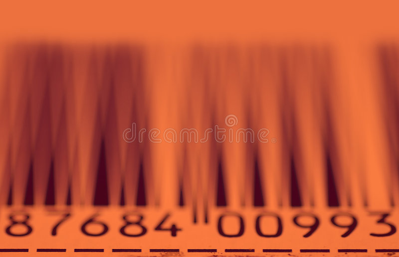 Barcode stripes. And numers with orange glow from laser stock photo