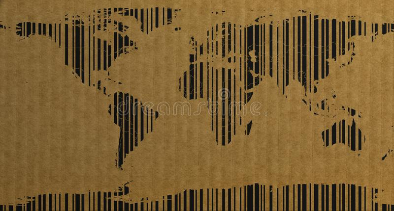 Barcode style world map on cardboard 3d rendering stock illustration