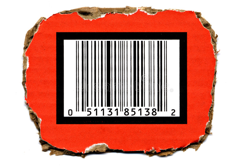 Barcode On Torned Cardboard Royalty Free Stock Images