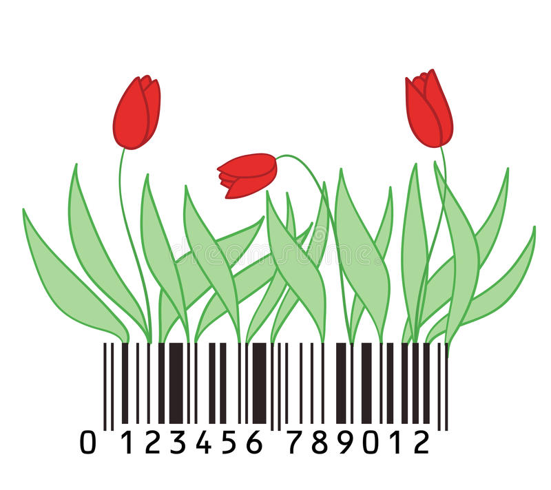 Barcode with tulips. Some tulips stylized as barcode stock illustration