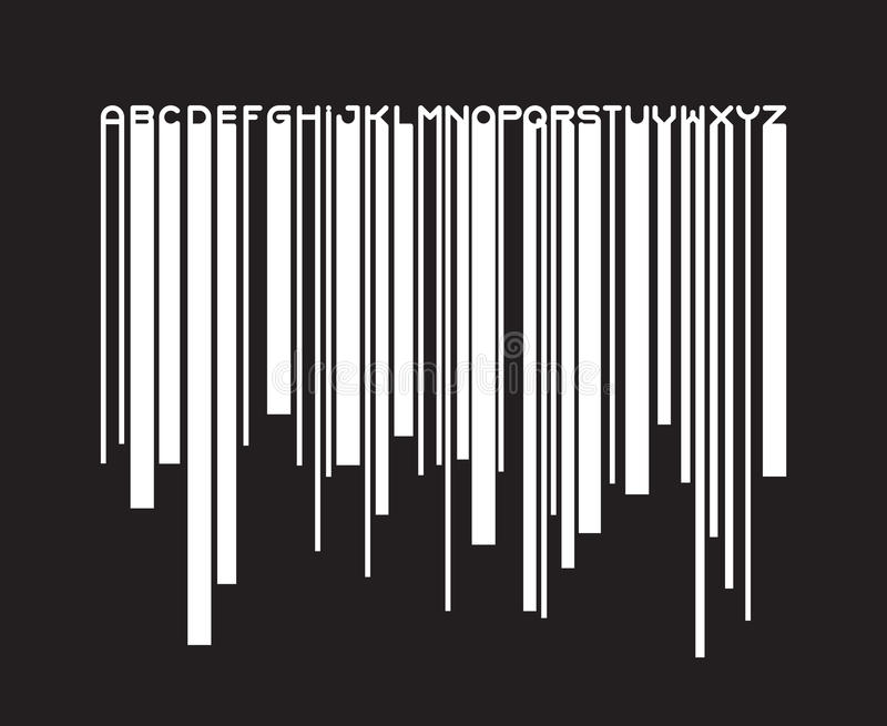Barcode typeface paint flow font royalty free illustration