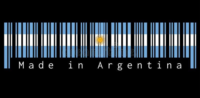 Barcode ustawia kolor flaga, błękit i biel z słońcem Maj na czarnym tle z tekstem Argentyna: Robić w Argentyna ilustracja wektor