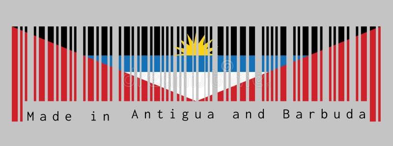Barcode ustawia kolor flaga, czerni błękit i biel Antigua i Barbuda, z dwa czerwonymi trójbokami z żółtym słońcem ilustracja wektor