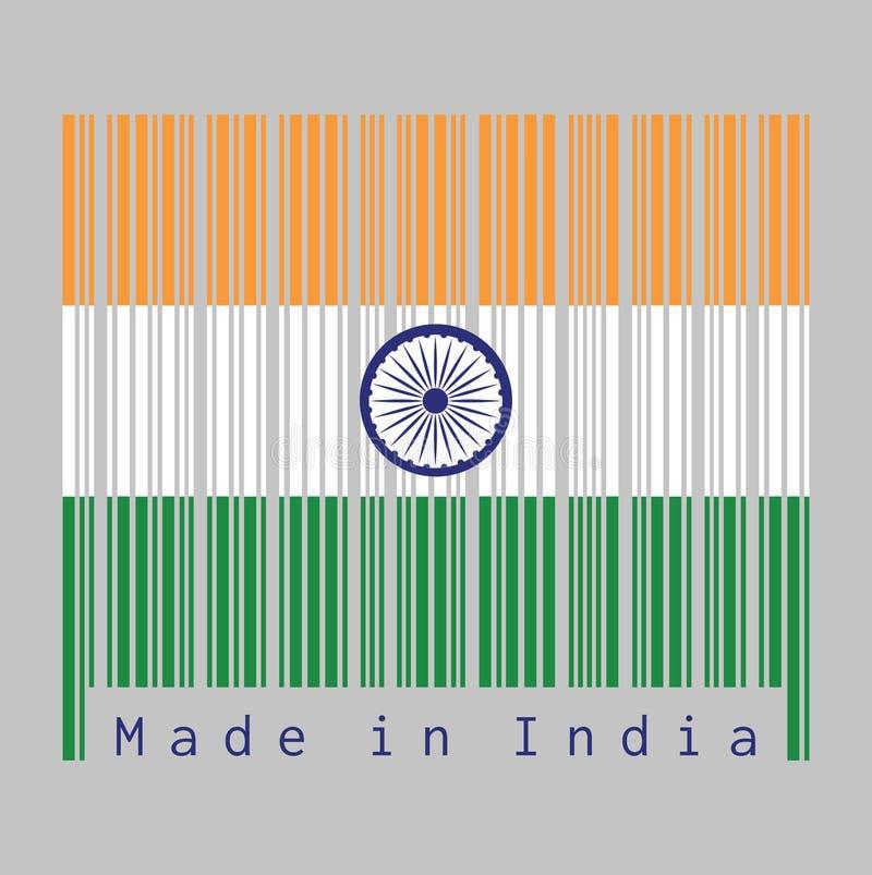 Barcode ustawia kolor India flaga, tricolor India szafran, biały i zielony z Ashoka Chakra kołem royalty ilustracja
