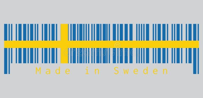 Barcode ustawia kolor szwedzi zaznacza, ono jest składać się z złocisty Północny krzyż na polu błękit lub kolor żółty royalty ilustracja