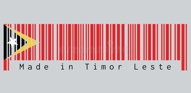 Barcode ustawia kolor Timor Leste flaga, czerwony kolor żółty i czerń kolor z biel gwiazdą, ilustracja wektor