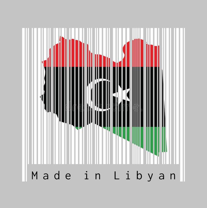 Barcode ustawia kształt Libia mapy kontur i kolor Libia flaga na białym barcode z popielatym tłem ilustracji