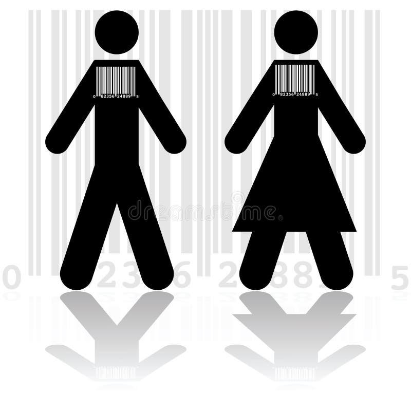 Barcode w ludziach ilustracja wektor