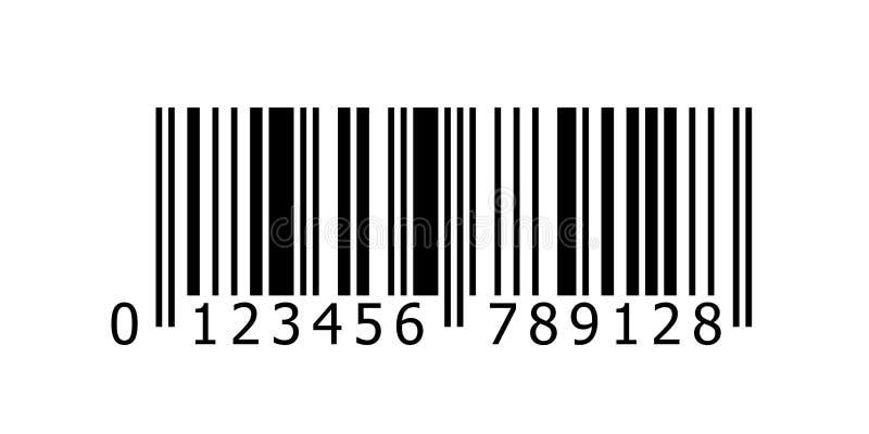 Barcode wektorowa ikona z liczbami lub prętowego kodu obrazu cyfrowego etykietki produktu metką royalty ilustracja