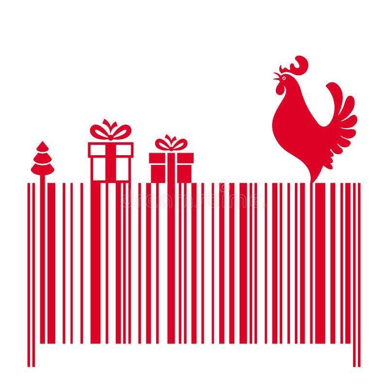 Barcode z Czerwonym kogutem i prezentami ilustracji