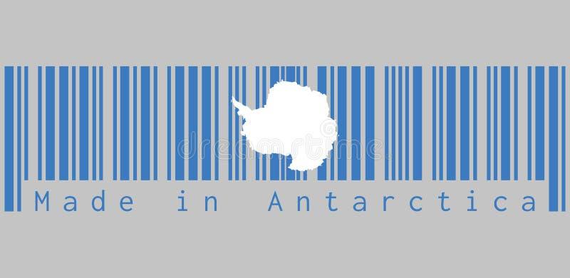 Barcoden ställde in färgen av den Antarktis flaggan, text: Gjort i Antarktis, begrepp av försäljningen eller affären royaltyfri illustrationer