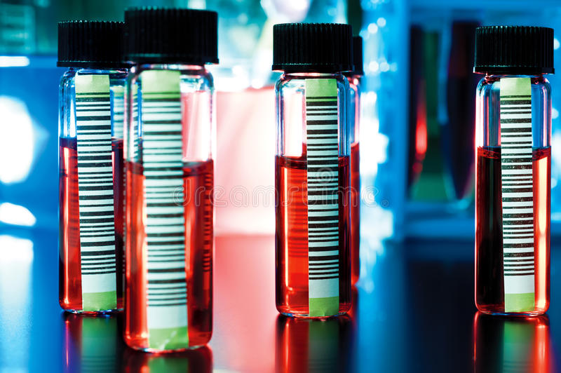 Barcodes on medical samples stock image