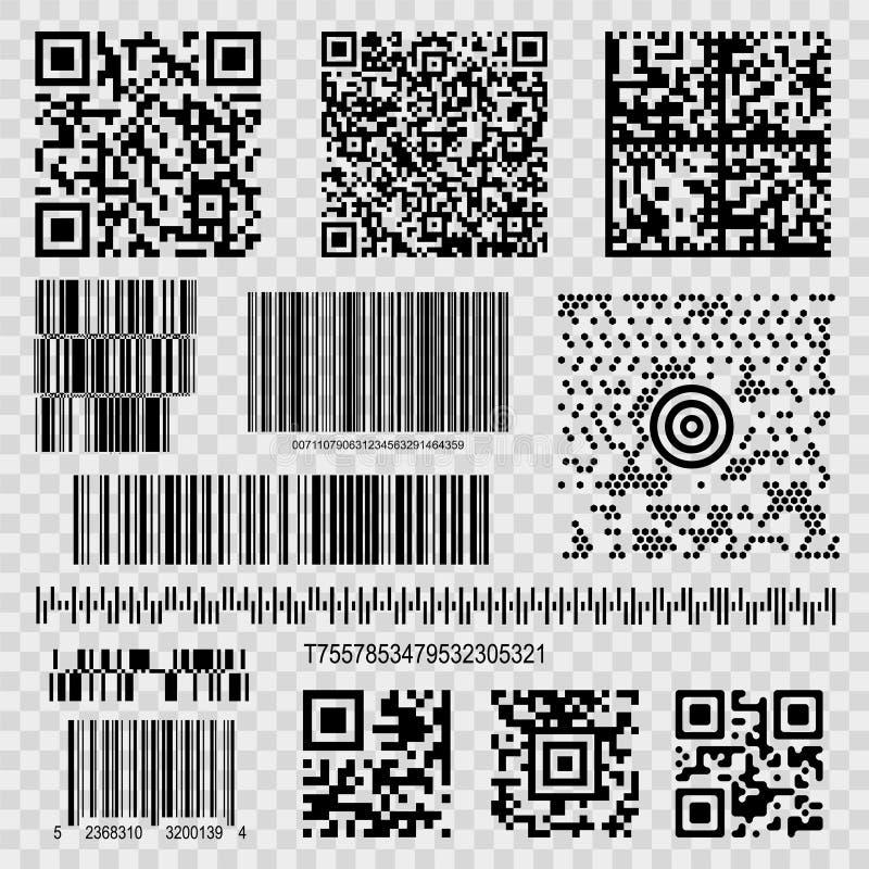 Barcodes och qrkoder royaltyfri illustrationer