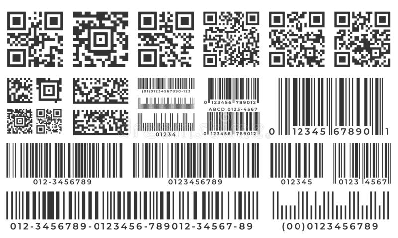Barcodes. Scan bar label, qr code and industrial barcode. Product inventory badge, codes stripe sticker and package bars vector illustration