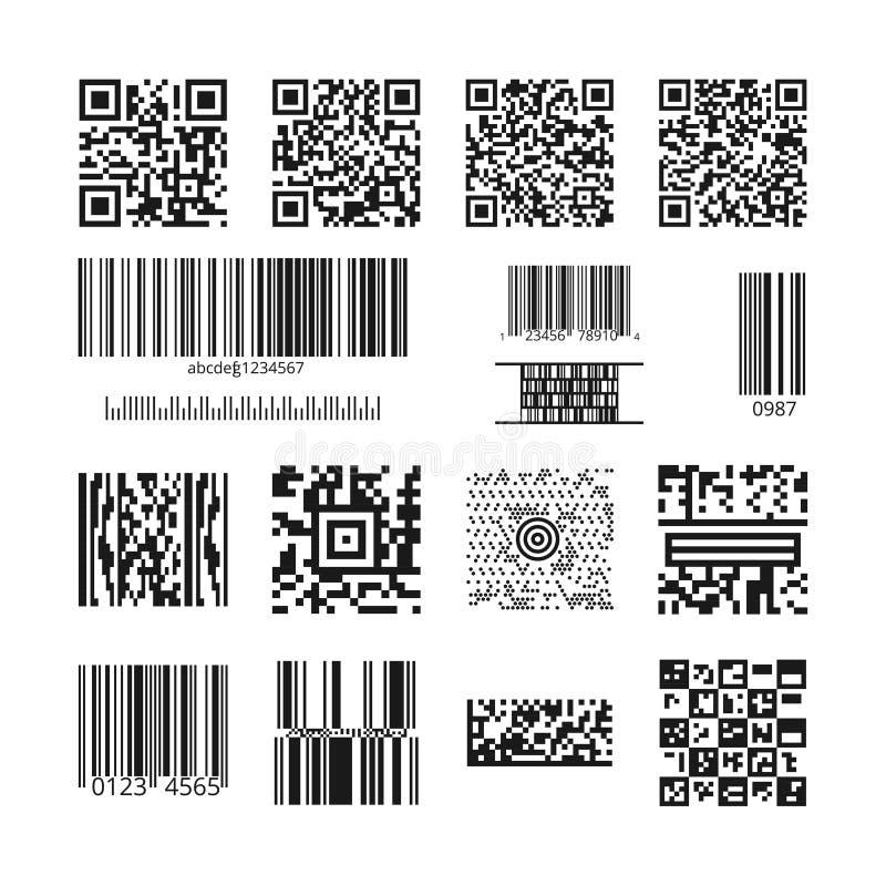Barcodes und QR-Codevektorsatz stock abbildung