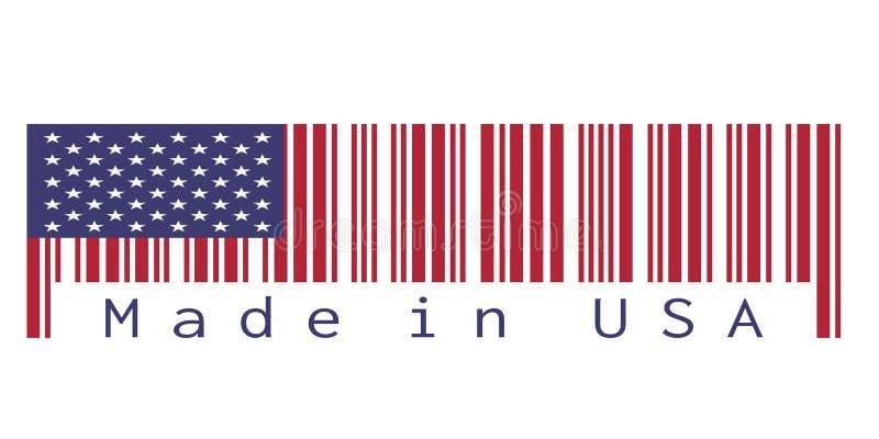 Barcodeuppsättning färgen av den Amerika flaggan, färgen för röda blått och stjärna på vit bakgrund med text: Gjort i USA royaltyfri illustrationer