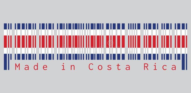 Barcodeuppsättning färgen av den Costa Rica flaggan, blå röd och vit färg på grå bakgrund, text: Gjort i Costa Rica royaltyfri illustrationer