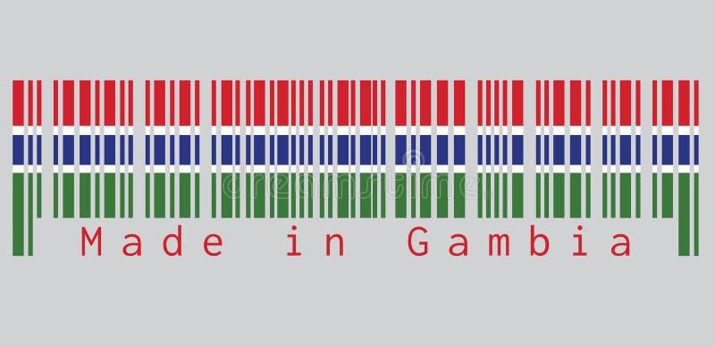 Barcodeuppsättning färgen av den Gambia flaggan, röda blått och grön färg och avskilt av en narrowband av vit text: Gjort i Faroe royaltyfri illustrationer