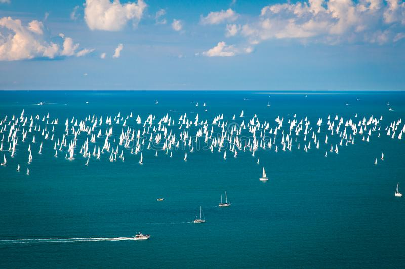 The Barcolana regatta in the gulf of Trieste. One of the biggest regatta in the world with more than 2100 boats: the Barcolana stock photography