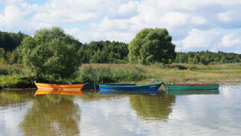 Barcos amarrados à costa imagem de stock