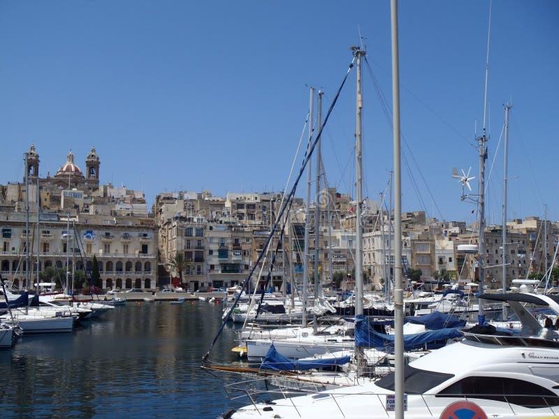 Barcos anclados en Malta foto de archivo libre de regalías