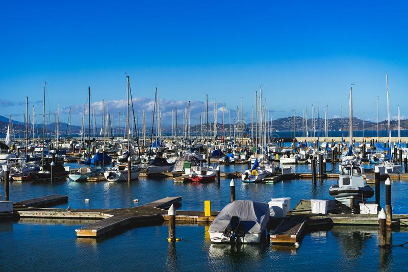 Barcos atracados en San Francisco foto de archivo
