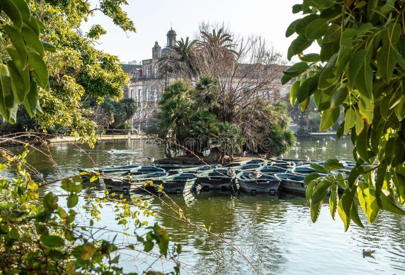 Barcos Barcelona charca plantas Parque pájaros fotografía de archivo