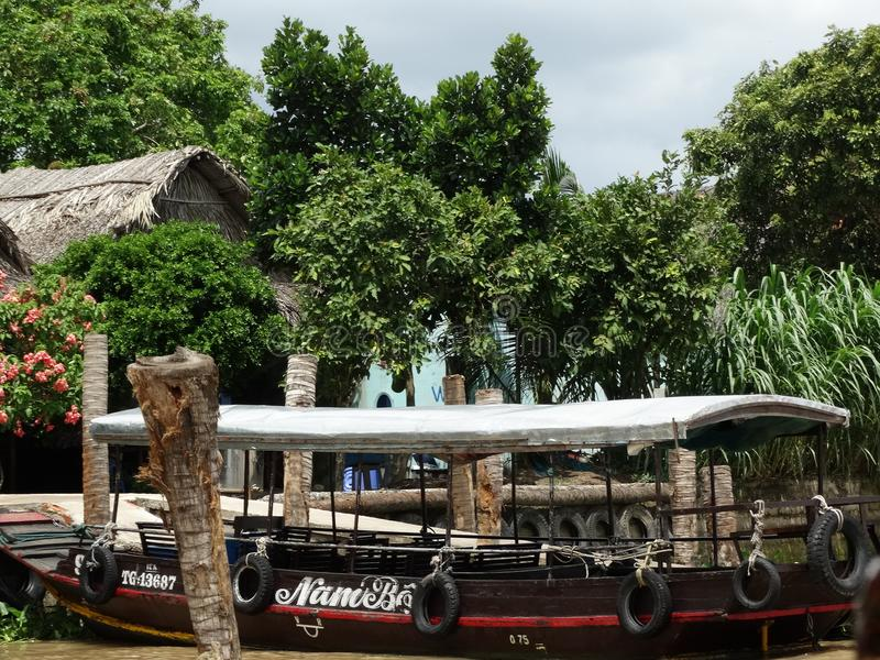 Barcos campo em Mekong River, Vietname, delta de Mekong imagem de stock
