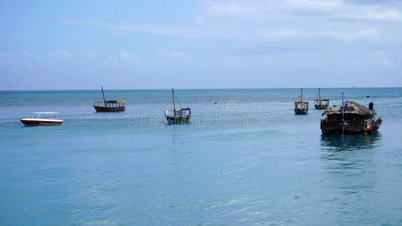 Barcos, cidade de pedra, Zanzibar fotografia de stock