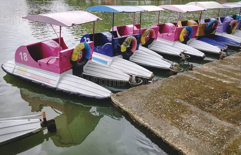 Barcos coloridos do pedal para o aluguel no lago fotografia de stock royalty free