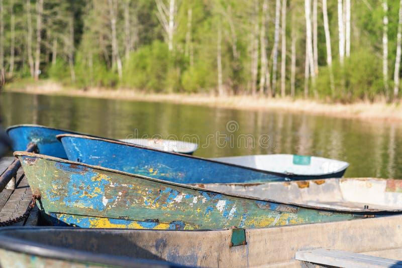 Barcos de enfileiramento velhos amarrados na costa contra a floresta verde imagens de stock