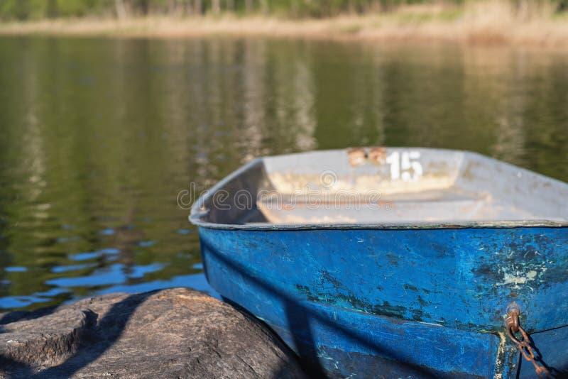 Barcos de enfileiramento velhos amarrados na costa contra a floresta verde foto de stock royalty free