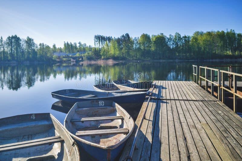 Barcos de enfileiramento velhos amarrados na costa contra a floresta verde fotografia de stock royalty free