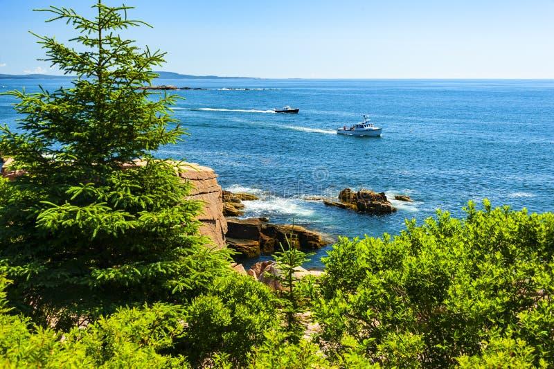 Barcos de la traves?a en el puerto de la barra, Maine fotografía de archivo libre de regalías