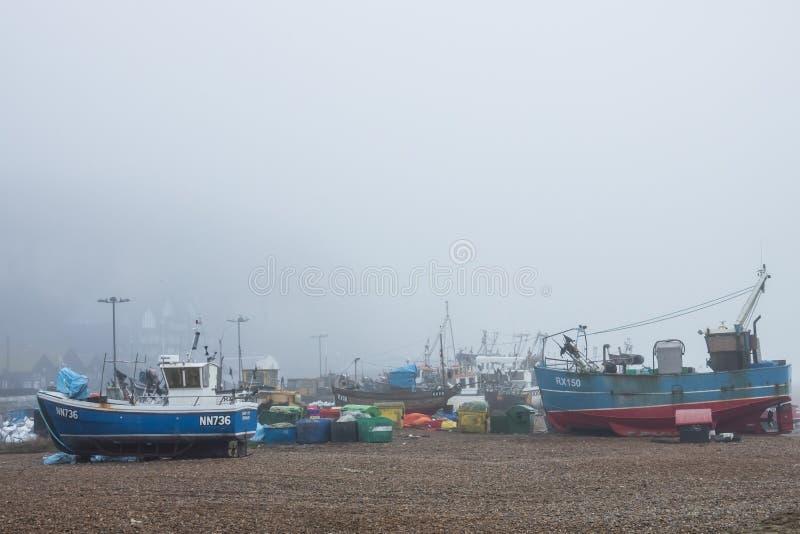 Barcos de los pescadores en la orilla fotografía de archivo libre de regalías