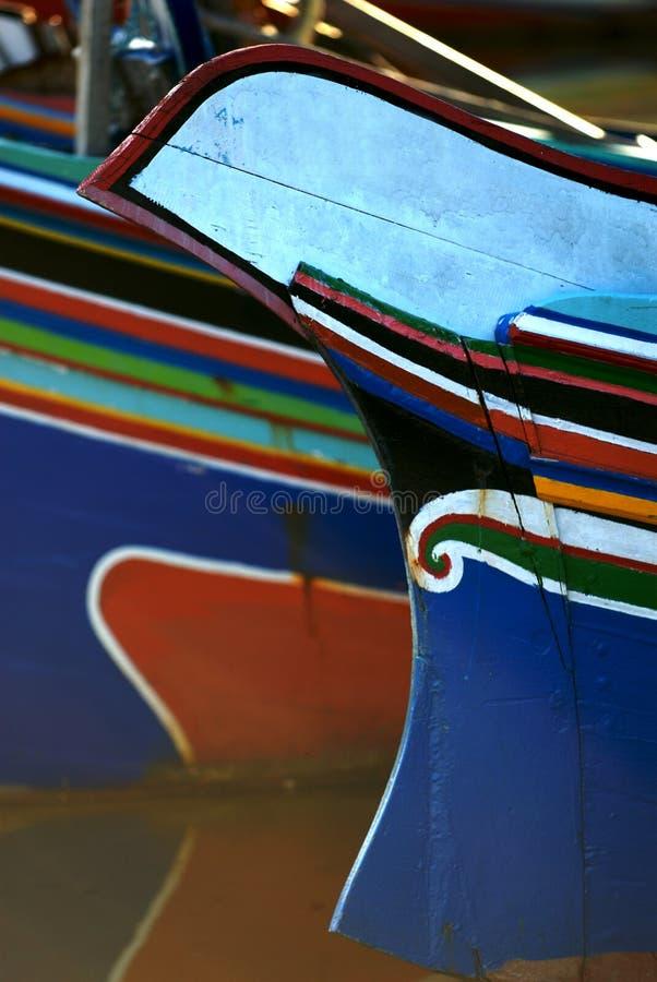 Barcos de madeira coloridos fotografia de stock