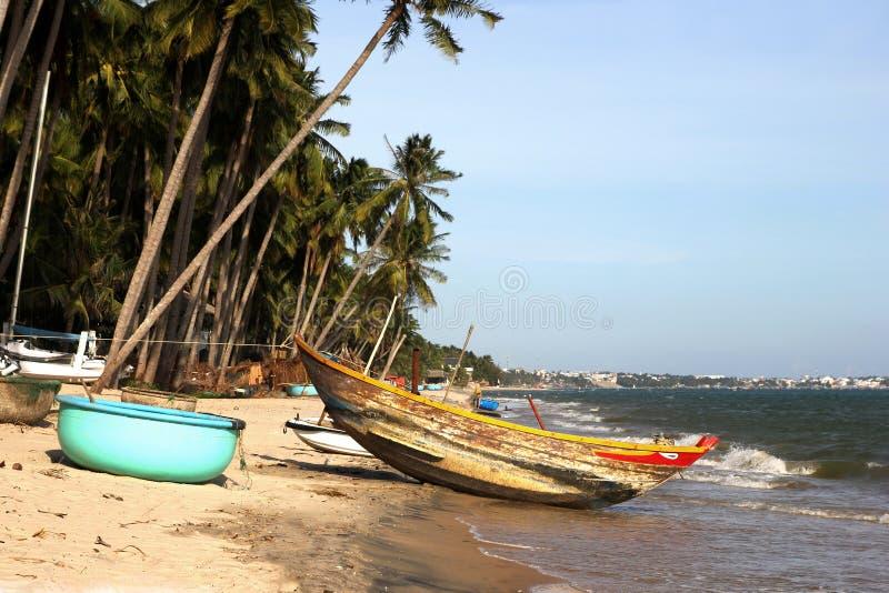 Barcos de madeira sob palmeiras na praia tropical fotografia de stock