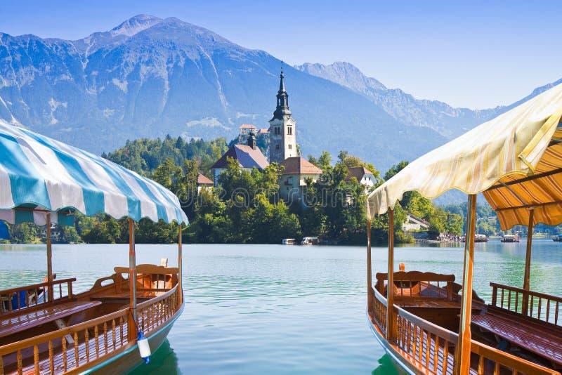 Barcos de madeira típicos, no ` esloveno de Pletna do ` da chamada, no lago sangrado, o lago o mais famoso em Eslovênia com a ilh imagem de stock