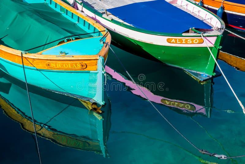 Barcos de madera, al sur de Francia fotografía de archivo libre de regalías