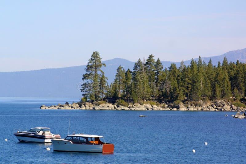 Barcos de madera en Lake Tahoe imagen de archivo libre de regalías