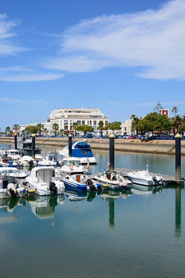 Barcos de motor en el puerto deportivo, Ayamonte fotografía de archivo libre de regalías