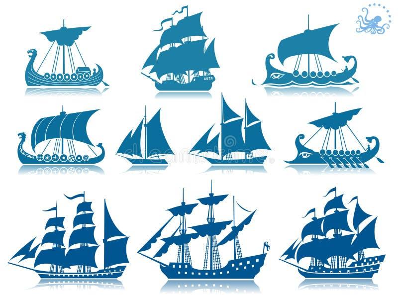 Barcos de navegación de la vendimia ilustración del vector