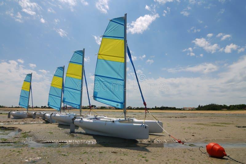 Barcos de navigação do catamarã imagens de stock royalty free