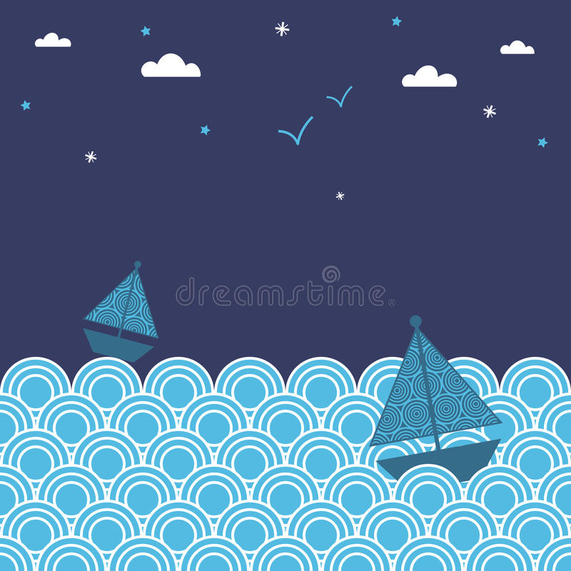 Barcos de noche ilustración del vector