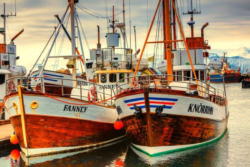 Barcos de observação da baleia tradicional que encontram-se no porto de Husavik fotos de stock