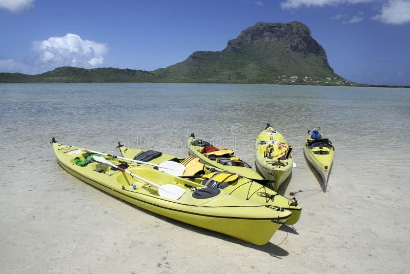 Barcos de paleta coloridos en agua baja clara
