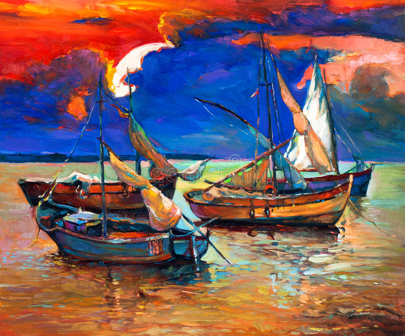 Barcos de pesca ilustração do vetor