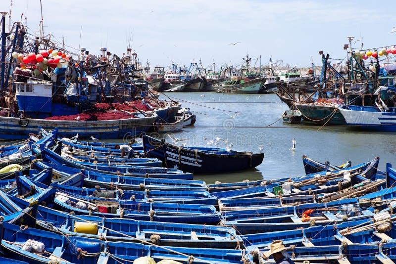 Barcos de pesca azules, Essaouira, Marruecos foto de archivo libre de regalías